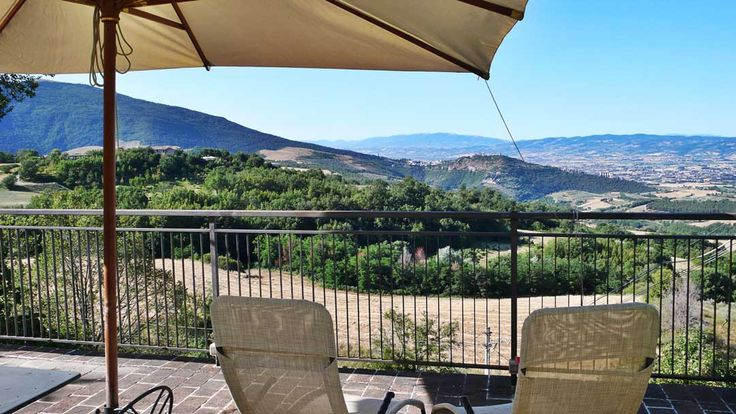 Terrace overlooking Assisi and the Subasio Mountain at Alla Madonna del Piatto Assisi B&B, Vacation rental and Cooking School