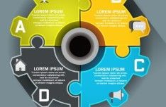 Gear Style Infographic Elements Vector