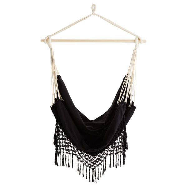Black Hanging Hammock Chair With Fringes (390 BRL) ❤ Liked On Polyvore  Featuring Home