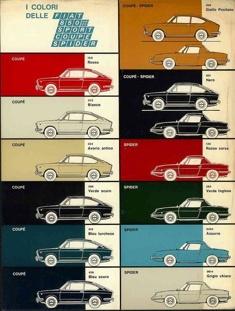 FIATColors Charts, Spiders, 850 Coupe, Fiat Posters, Cars Posters, Graphics Design, Fiat Colors, Fiat 850, Fiat Colorways