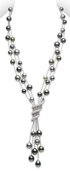 Aurora Necklace, Multicolored Pearls - -pearl necklace-mikimoto-