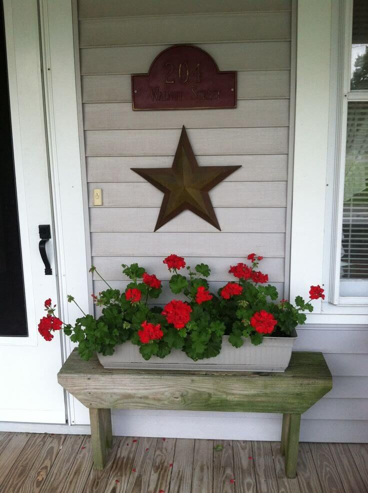 Rustic Wooden Bench with Flower Box