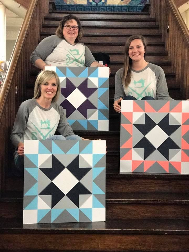 Bittersweet Barn Quilts class! 3 Lovely ladies. 3 lovely Barn Quilts. The same yet different. Class held at QuiltHaven in Hutchinson, Mn.
