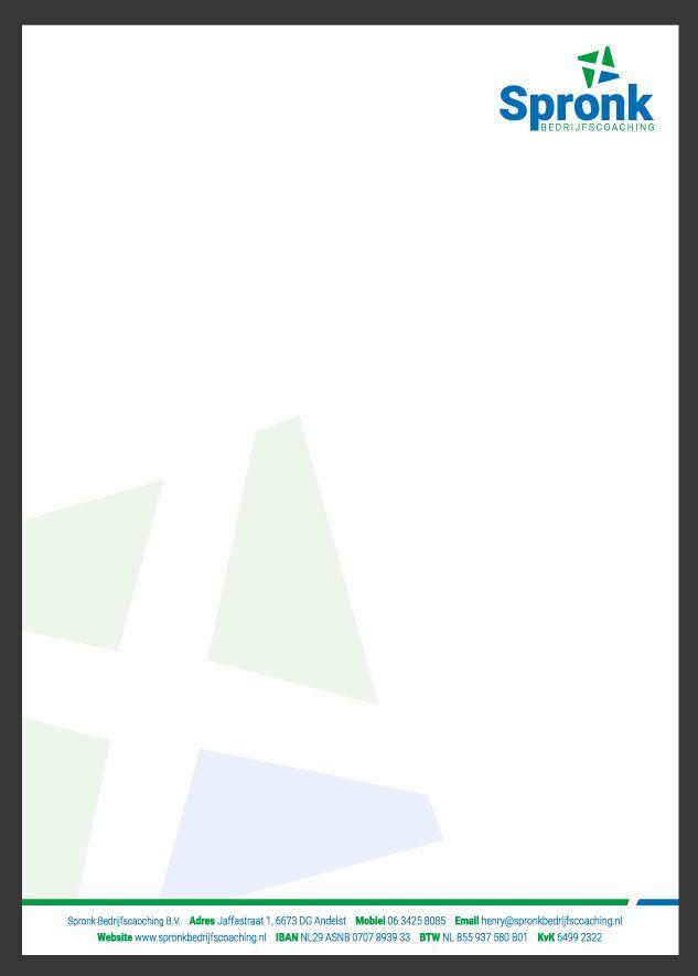Briefpapier ontwerp Spronk Bedrijfscoaching