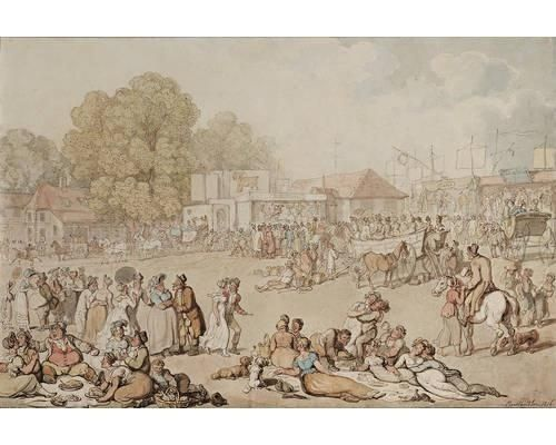 Artwork by Thomas Rowlandson, Harlow Bush Fair, Made of pen and ink and watercolour 1816.Owing to the difficulties of travel, country people depended on teh annual fairs for goods not produced locally. Fairs provided vital services of which enteratinment was a traditional part.