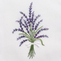 Lavender Wild<br>Hand Towel - White Cotton