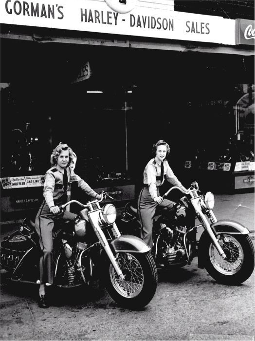 girls riding harley davidson motorcycles ||  1940s / 1950s