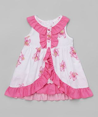 Pink & White Floral Ruffle Yoke Dress - Toddler