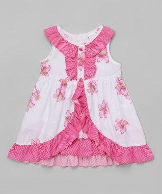 Pink & White Floral Ruffle Yoke Dress - Toddler