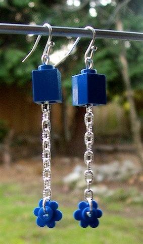 Blue Chain Lego Brick and Flower Earrings by jreyesha on Etsy, $5.50
