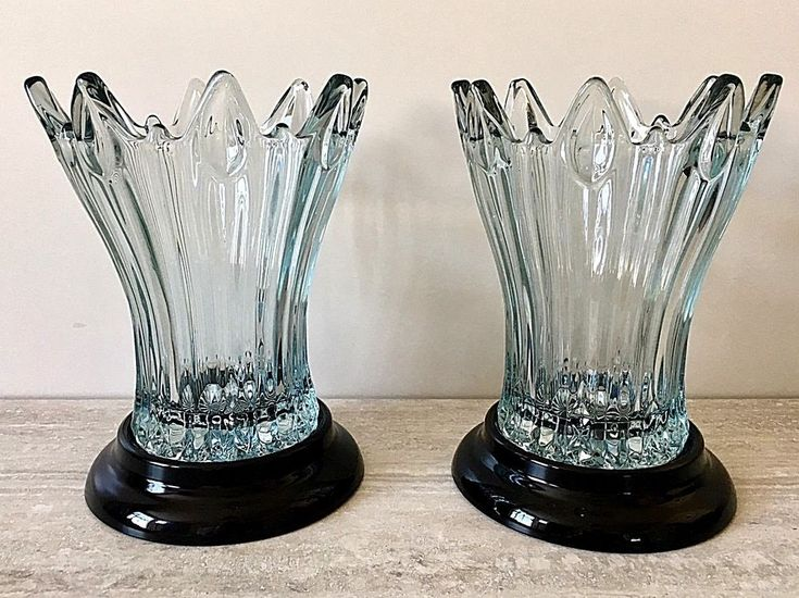 Art Deco Sowerby Pressed Glass Tulip Vases with Separate Black Glass Plinths #Sowerby #ArtDeco
