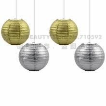 """4 pz 8 """"/20 cm unico e personalizzato oro/argento metallico lanterne di carta della festa nuziale casa yard garden fiesta hanging decor(China (Mainland))"""