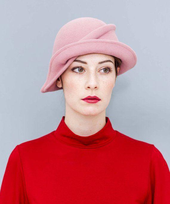 Felt Hat Cloche Wool Felt Vintage Style Dusky Pink Winter Hat