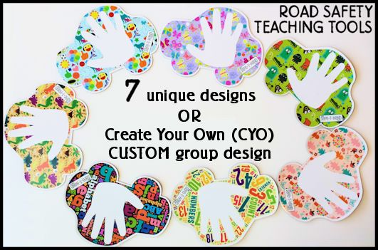 Australia's FIRST Road Safety Teaching Tool! Seven unique Safe-T-Hand car magnet/decal designs to choose from or Create Your Own! #child #safety #road #car #carpark #fun #education #7 #teach #fundraise #preschool #kid #near #around #traffic