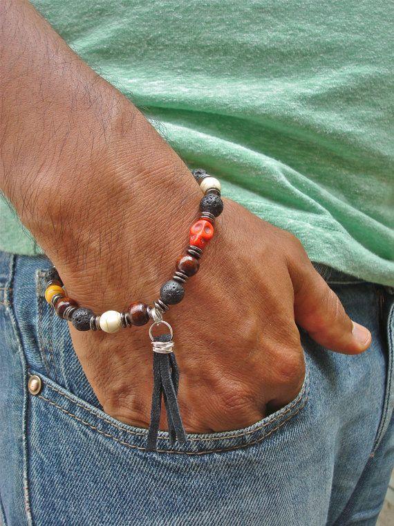 Armband voor mannen van Rocker met Semi-kostbare Vuur Agaat