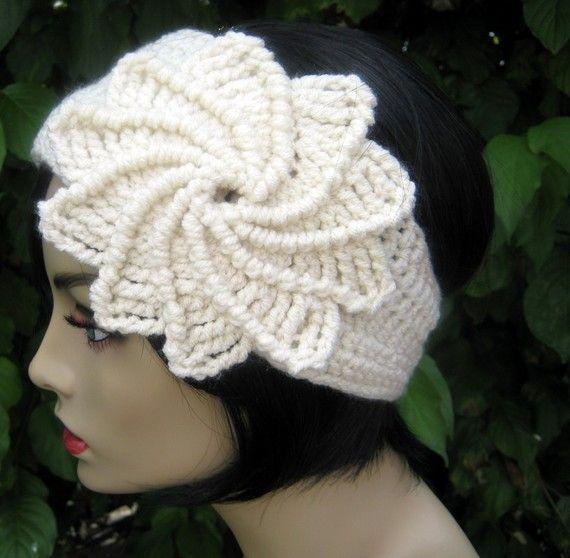 Crochet Spiral Flower Headband / Earwarmer /  by yarntwisted