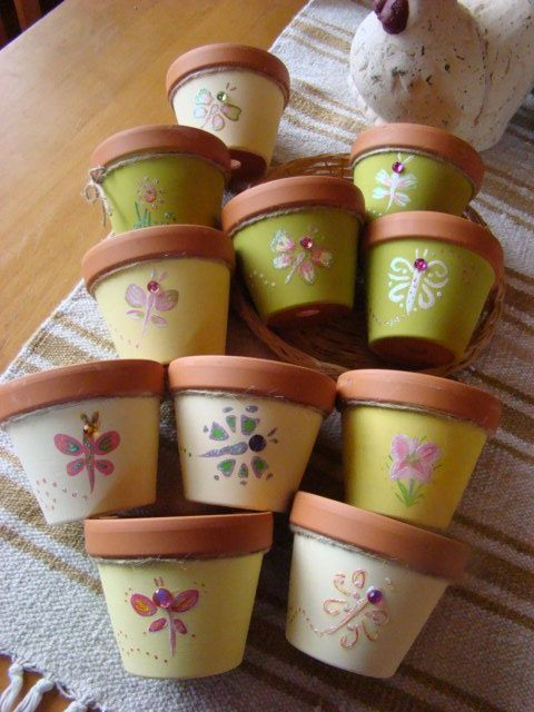 painted clay pots ideas | Hand-painted clay pots