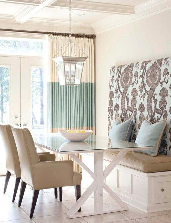 Serene dining scheme with upholstered banquette. More banquette seating ideas at http://www.myhomerocks.com/2012/04/dining-banquettes-kitchen-breakfast-nooks/ #interiors