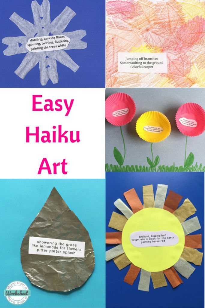 Easy Haiku Art Ideas...these look so easy and quick to do. Have students write the haiku poetry and glue right on. Would be cute on a bulletin board.