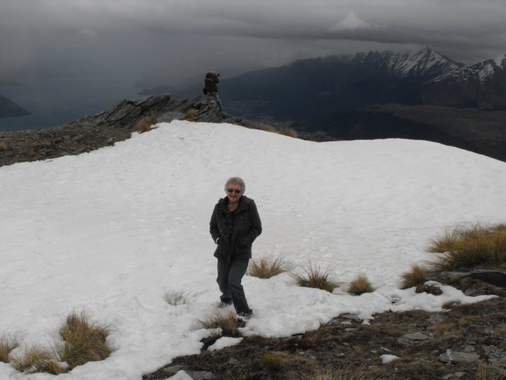 Mum on snow for the 1st time!  We flew up in helicopter to top of  mountain in Queenstown NZ  Amazing!