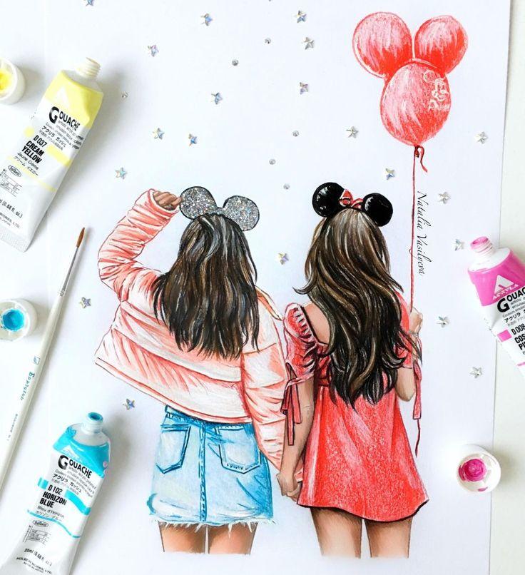 Рисунок на открытку подруге на др