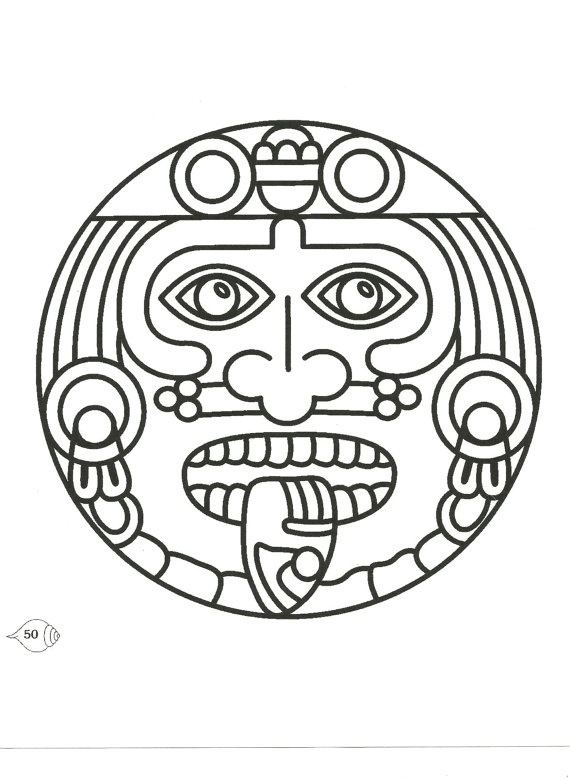 Aztec, Mexico, Mexican Symbolic Image printed in your choice of 11 colors or on a vintage book page.  $6.00