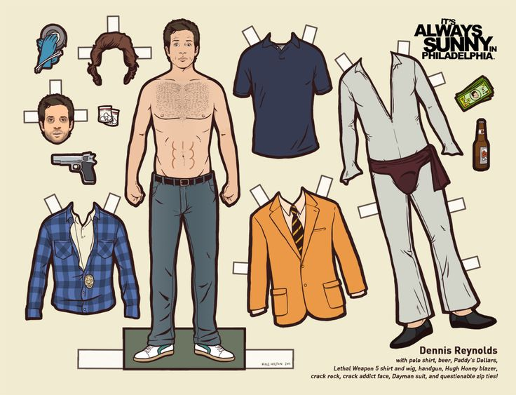 "Dennis Reynolds - IASIP paper doll, complete with ""Dayman"" costume. Description from pinterest.com. I searched for this on bing.com/images"