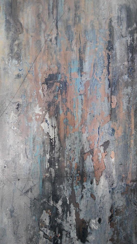Lugares tranquilos Se trata de una pintura abstracta original de Amy Neal Art Studio sobre lienzo envuelto en Galería. Una pieza grande declaración minimalista moderno. Textura ligeramente con un aire apenado. Grises y tonos blancos con acentos de color de rosa de oro, oro, luz de hoja azul y oro. Arte tenue, calmado y neutral para cualquier espacio contemporáneo o moderno. Listo para colgar o marco con colgantes de alambre de atado. Partes pintadas en negro. Barniz del lustre de alta…
