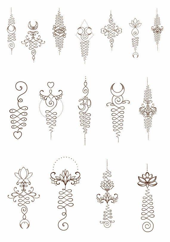 Waar Henna Tattoo Kopen: Unalome Temporary Tattoos. Lotus Flower, Om Symbol, Third