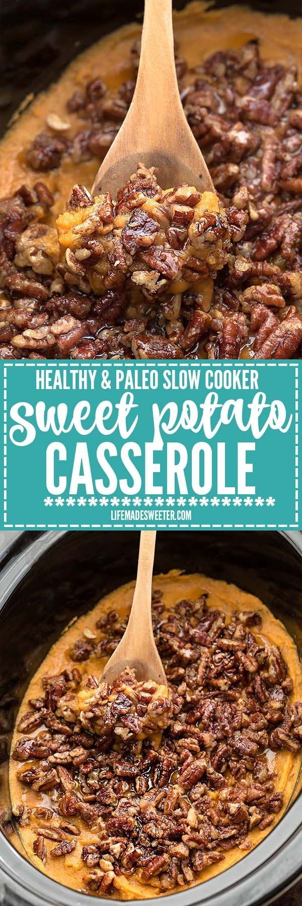 Healthy Paleo Slow Cooker Sweet Potato Casserole is the perfect easy side dish for Thanksgiving and the holidays. Best of all, it's made entirely in the crock pot, saving you valuable oven space. No p