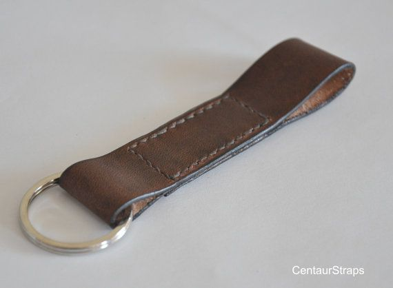 Handmade leather keychain leather key fob with by CentaurStraps