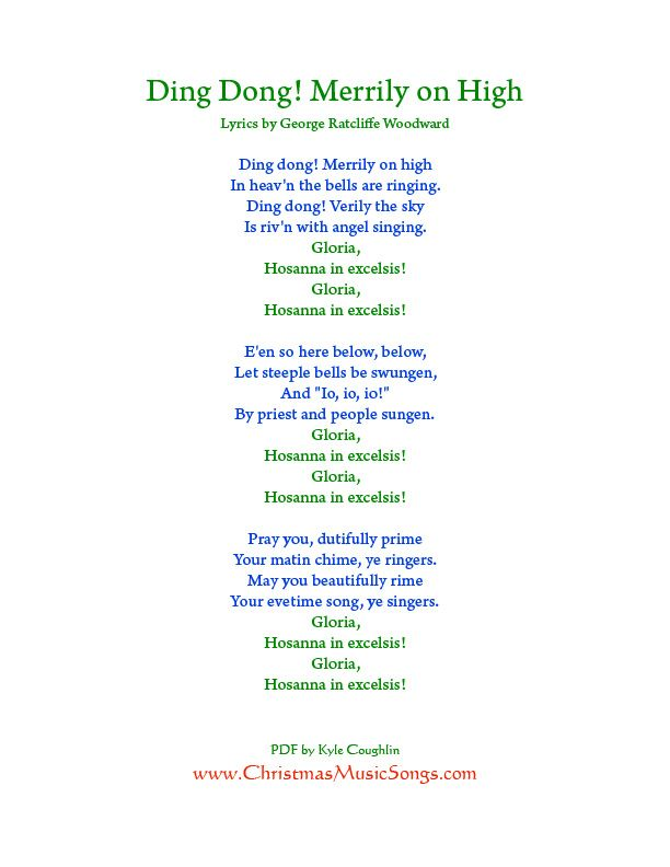 Printable PDF of Ding Dong Merrily on High Lyrics. #ChristmasCarols | Christmas songs lyrics ...