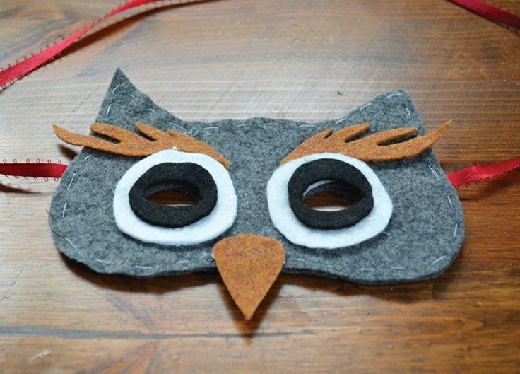Eine Eulen Maske für den Fasching aus Filz nähen und kleben