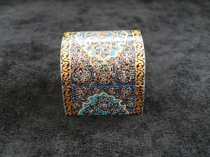 Item Details  - Size: 4.5cm X 4.5cm X 4cm (WXDXH) W=Width, D=Depth, H=Height  - Weight: 80 gr - Material: Glazed Hand Painting on Camel Bone - Origination: Handmade in Isfahan / Persia (Iran) - Usage: Jewelry Box , Small Storage, Decorative Item, Persian Gift Shop @ persianhandicrafts.com