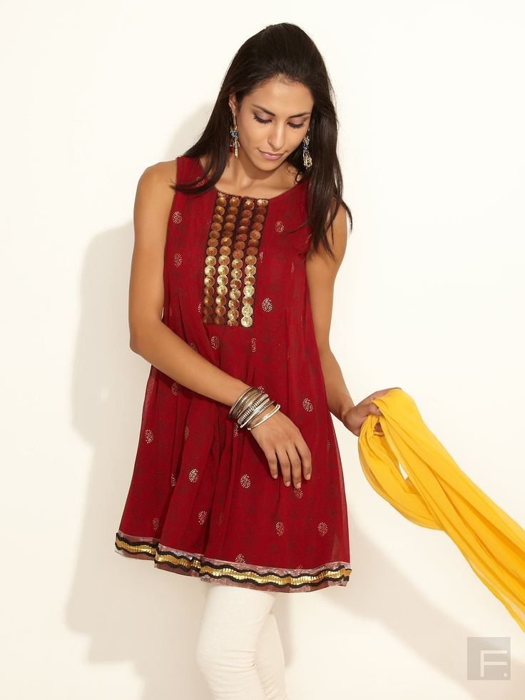 Global Desi // Dazzling Kurti With Sequined Yoke