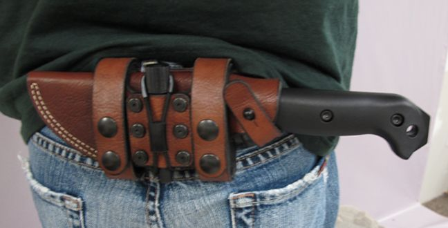 Becker BK2 with Hedgehog leather works scout carry sheath. I am totally obsessed with this knife. Perfect for camping.