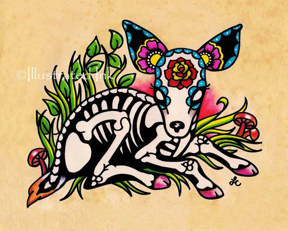 This Day of the Dead deer was inspired by a mix of folk art, old school tattoo design, and my love for woodland animals. Skele-deer is the first
