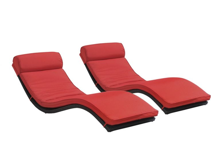 Lot de 2 bains de soleil JANEIRO en résine tressée wengué - assise rouge