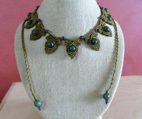 Collar de macrame de ágata de musgo joyas de macramé joyería