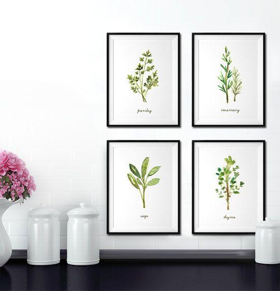 Herb print Set of 4 - 8x10 Watercolor painting - Kitchen art - Botanical print set - kitchen print set - Apartment decor - Green artwork