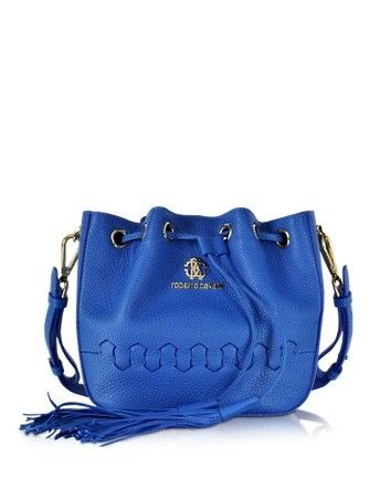 REGINA CERULEAN GRAINED LEATHER BUCKET BAG ROBERTO CAVALLI