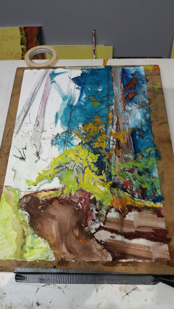 In process...  Mixed media. West Coast rainforest.