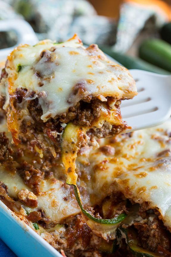 Zucchini Lasagna - a thick meat sauce and zucchini noodles make this a delicious gluten-free meal.