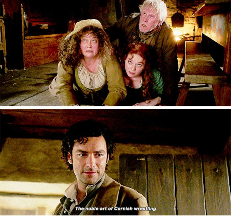 """The noble art of Cornish wrestling"" - Ross, Demelza, Prudie and Jud #Poldark ((Bahahaha, very funny moment))"