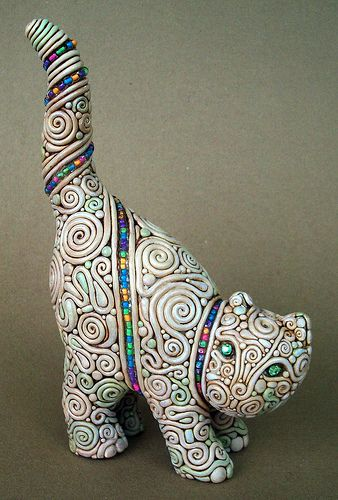Filligree Feline | Flickr - Photo Sharing! Made of polymer clay, acrylic paint and a glass gem.