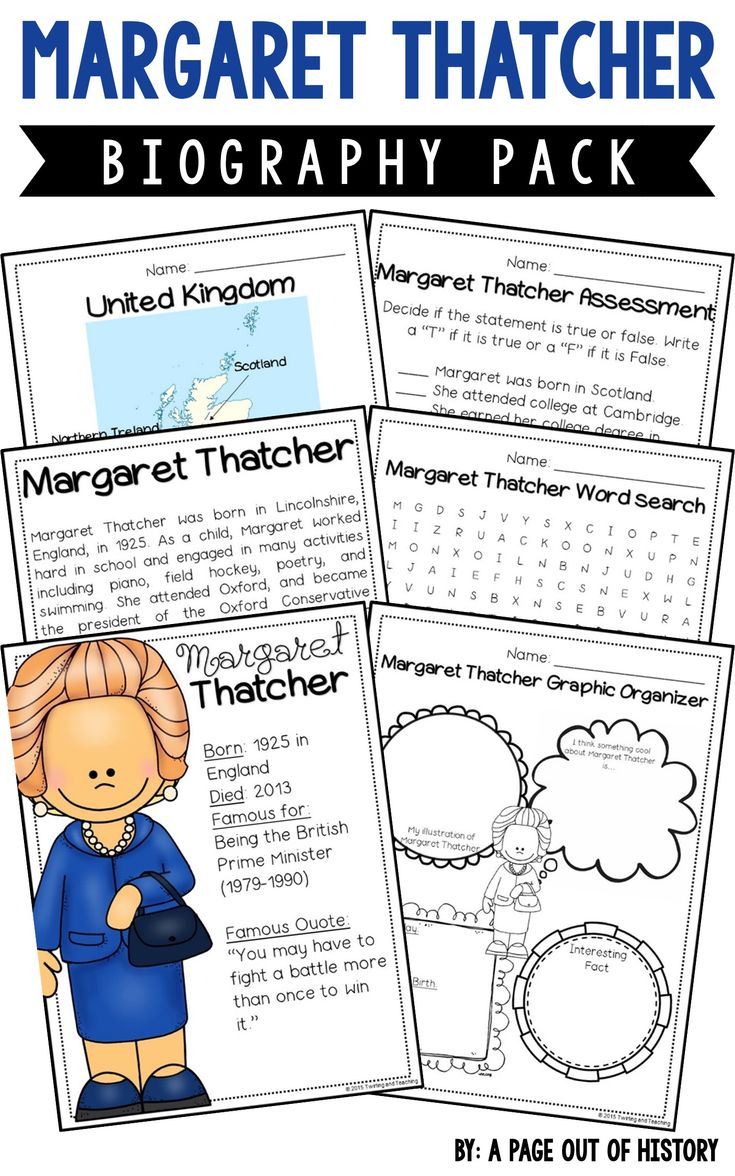 This Margaret Thatcher biography pack is a great addition to your women's history month social studies unit/curriculum! Included in this biography pack is a nonfiction passage about the life of Margaret Thatcher and a variety of fun activities to do with your students! The best part? It's NO PREP! Just print, copy, & go!