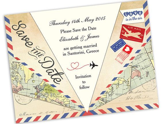 DIY Printable Vintage Airmail Save the Date by HipHipHoorayStudio