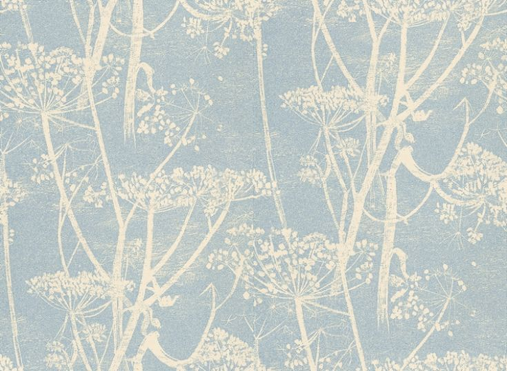 Cow Parsley (66/7050) - Cole & Son Wallpapers - A large scale all over design of cow-parsley – in cream and a pale blue background – giving a magical delicate effect.  Available in other colours – please ask for a sample for a true colour match. Paste-the-wall products.