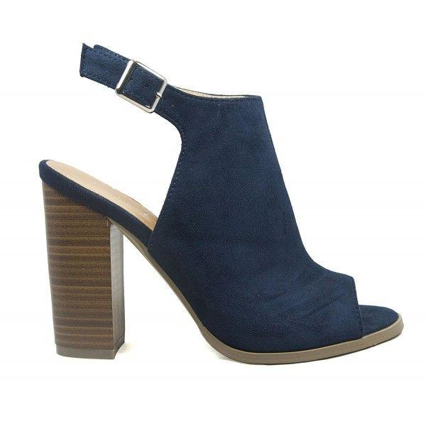 da01d6434f9448 Women s Peep Toe Slingback Chunky Stacked Heel Sandal - Navy ...