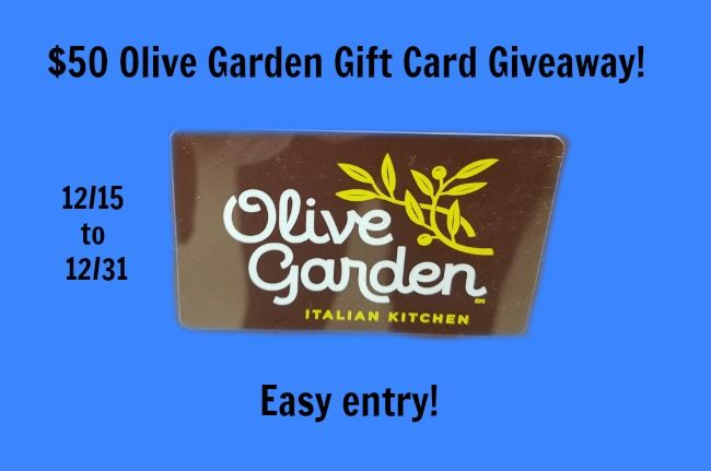 Yum! Enter for your chance to win a $50 Olive Garden Gift Card. Easy entries! Retweet so we can bring you more exciting chances to win. http://www.hintsandtipsblog.com/50-olive-garden-gift-card-giveaway-ends-12-31/